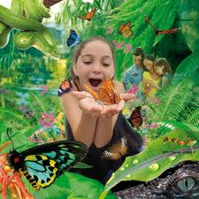 """little girl playing with butterfly"""